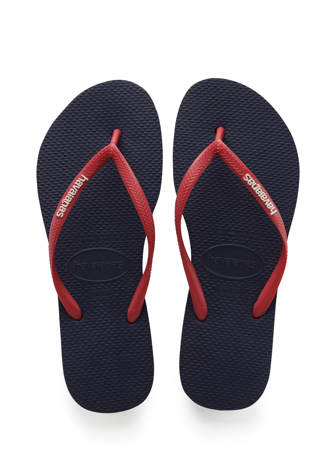189ed9aed Havaianas Slim Pop Up Logo Navy Blue Ruby Red Thongs - Tentworld