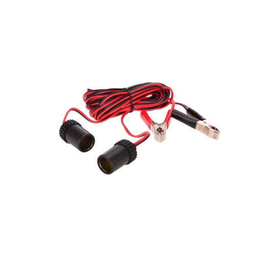 OZtrail 12V Extension Lead with Battery Clamps and Twin Outlets