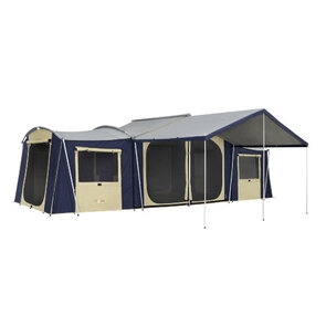 OZtrail Chateau 12 Canvas Cabin Tent includes Canvas Sunroom & Vinyl Floor