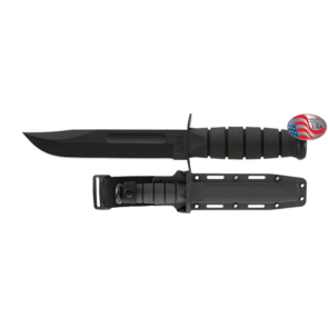 KA-BAR Utility Black Fixed Blade Knife with Black Hard Plastic Sheath