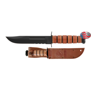 KA-BAR USMC Fighting/Utility Part Serrated Fixed Blade Knife with Brown Leather Sheath